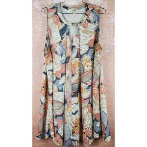 Umgee floral print keyhole front crew neck  dress